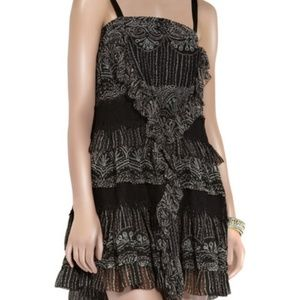 DVF black silk Taleen tiered dress